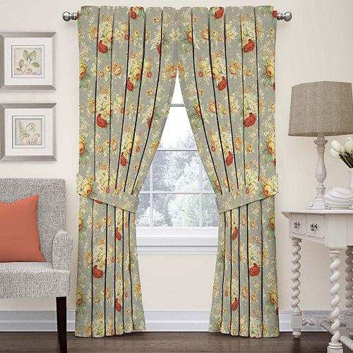 Waverly 1-Panel Sanctuary Rose Floral Window Curtain