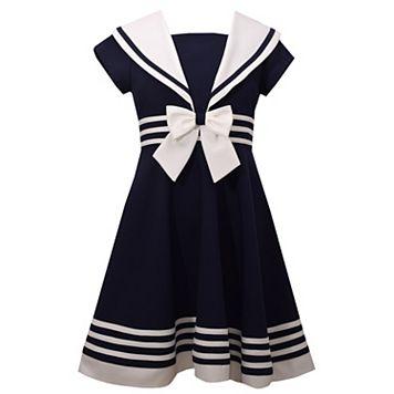 Girls 7-16 Bonnie Jean Nautical Collar Poplin Dress