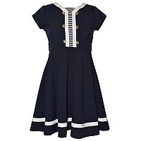 Girls 7-16 Bonnie Jean Nautical Striped Inset Poplin Dress