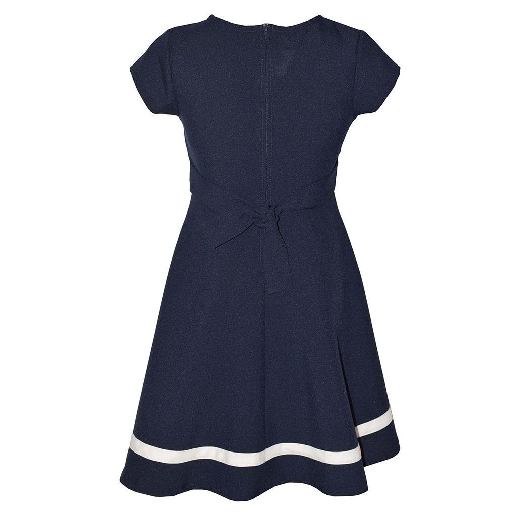 Girls 7-16 Bonnie Jean Nautical Striped Inset Poplin Dress