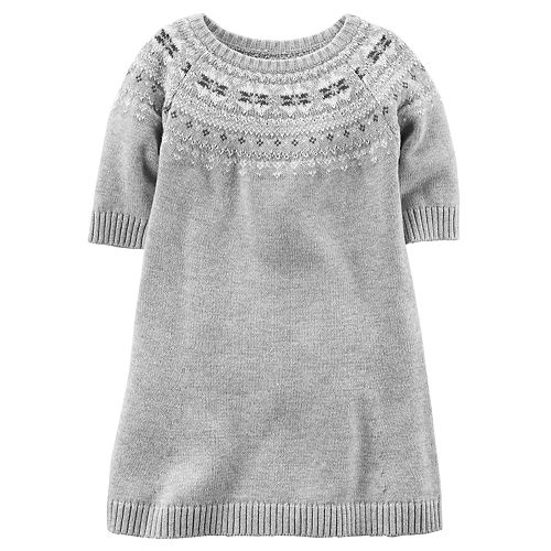 9c16e0faf Toddler Girl Carter s Light Gray Sweater Dress