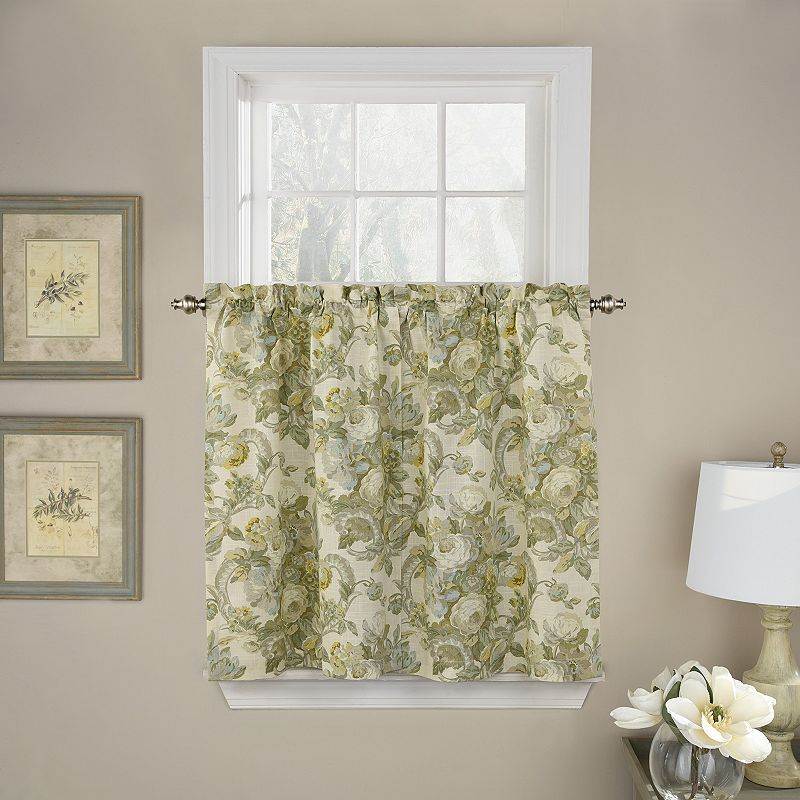 Waverly Spring Bling Tier Curtain Pair, Grey, 52X36