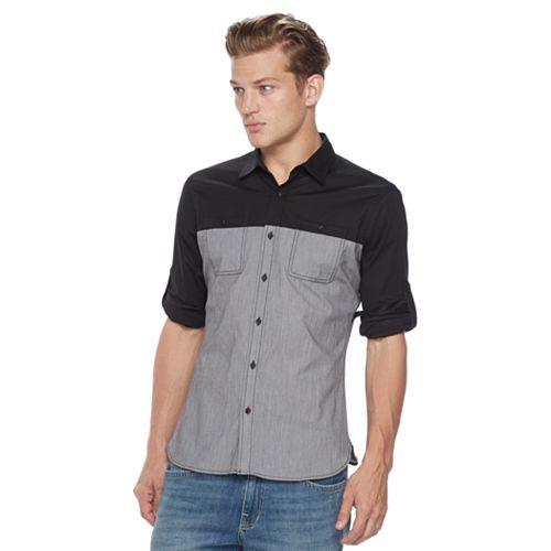 Men's Rock & Republic Colorblock Stretch Button-Down Shirt