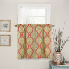 Waverly Moonlight Medallion Tier Curtain Pair