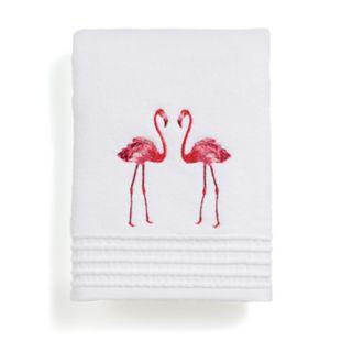 Destinations Pink Flamingo Embroidered Bath Towel