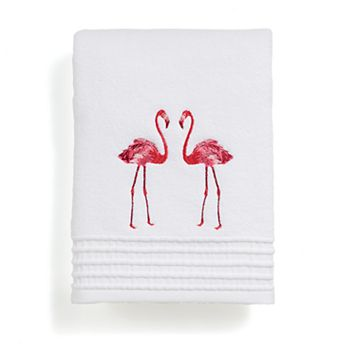 Destinations Pink Flamingo Embroidered Bath Towel