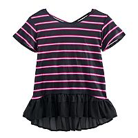 Disney D-signed Descendants 2 Girls 7-16 Striped Ruffled Hem Top