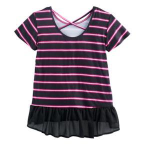 Disney D-Signed Descendants 2 Girls 7-16 Striped Ruffled Hem Top