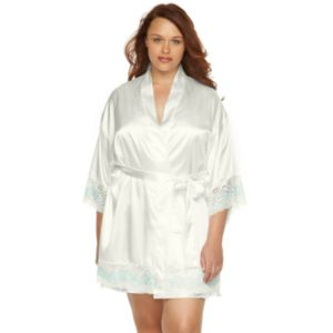 Plus Size Flora by Flora Nikrooz Adore Lace Charmeuse Kimono Robe