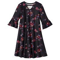 Girls 7-16 Mudd® Ruffle Bell Sleeve Patterned Dress