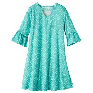 Girls 7-16 Mudd® Ruffle Bell Sleeve Patterned Dress