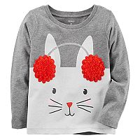 Toddler Girl Carter's Sherpa Ear Muff Bunny Graphic Tee