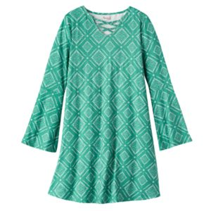 Girls 7-16 Mudd® Faux Lace-Up Front Bell Sleeve Patterned Dress