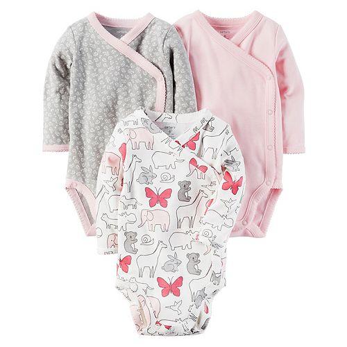 Baby Girl Carter's 3-pk. Solid & Pattern Kimono Tees