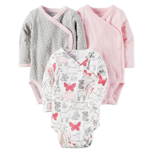 Baby Girl Carter's 3-pk. Solid & Pattern Kimono Tees
