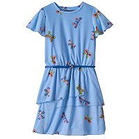 Girls 7-16 Three Pink Hearts Patterned Tiered Ringer Dress with Belt
