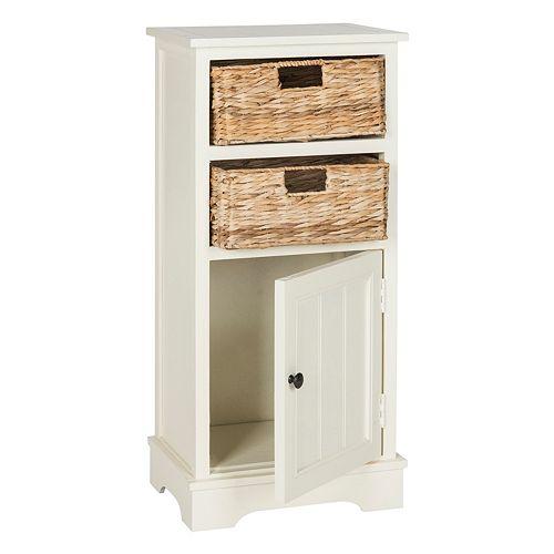 Safavieh Connery Storage Cabinet & Wicker Basket 3-piece Set
