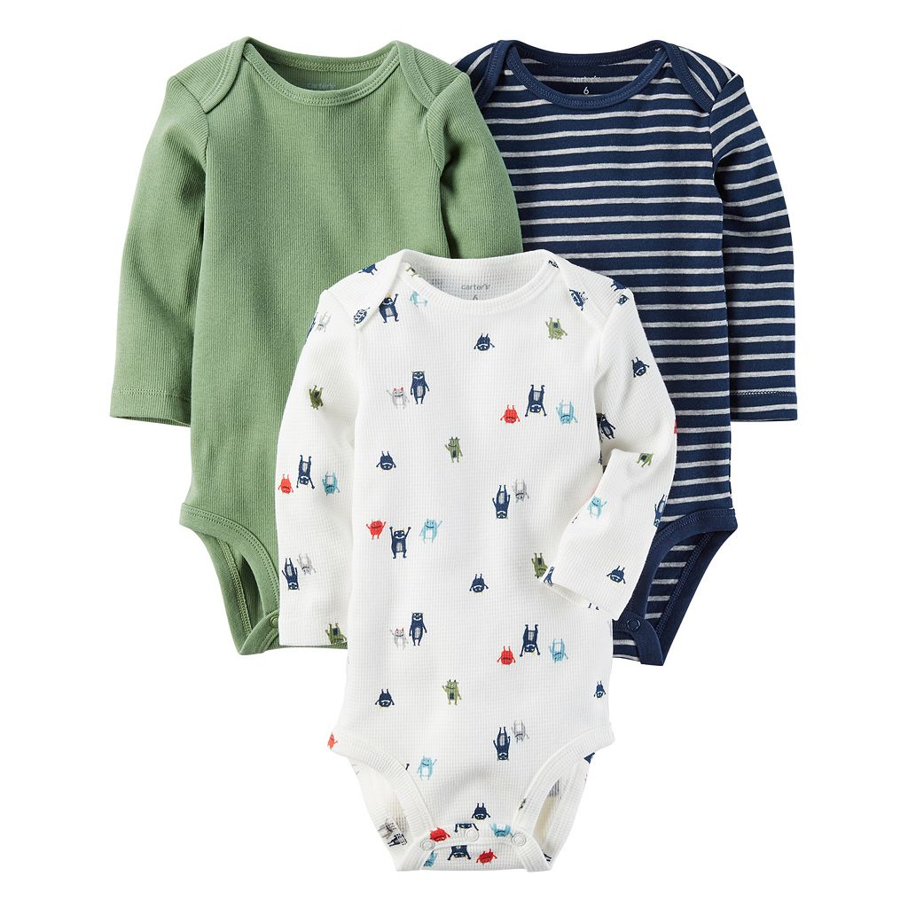 Baby Boy Carter's 3-pk. Long Sleeve Monster, Striped & Solid Bodysuits