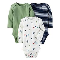 Baby Boy Carter's 3 pkLong Sleeve Monster, Striped & Solid Bodysuits