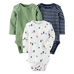 Baby Boy Carter's 3 pkLong Sleeve Monster, Striped & Solid Bodysuits