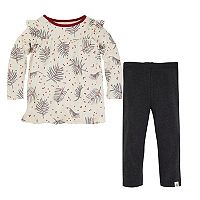 Toddler Girl Burt's Bees Baby Ruffle Shoulder Pine Needle Print & Faux Denim Leggings Set