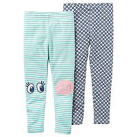 Toddler Girl Carter's 2-pk. Striped & Floral Leggings