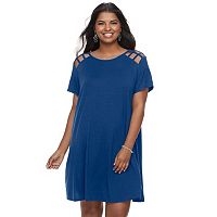 Juniors' Plus Size Speechless Lattice Shoulder Shift Dress