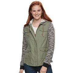 Juniors' Mudd® Marled Knit Sleeve Utility Jacket