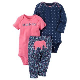"Baby Girl Carter's Polka-Dot Bodysuit, ""Happy Bodysuit"" & Elephant Pants Set"