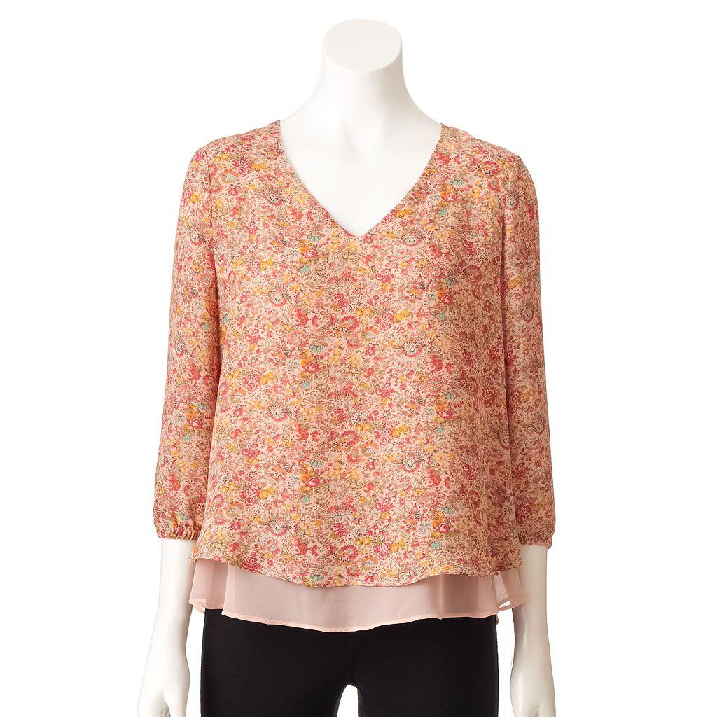 Women's LC Lauren Conrad Floral Layered Top