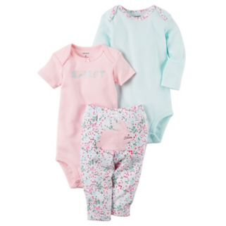 "Baby Girl Carter's ""Sweet"" Bodysuit, Striped Bodysuit & Floral Bunny Pants Set"
