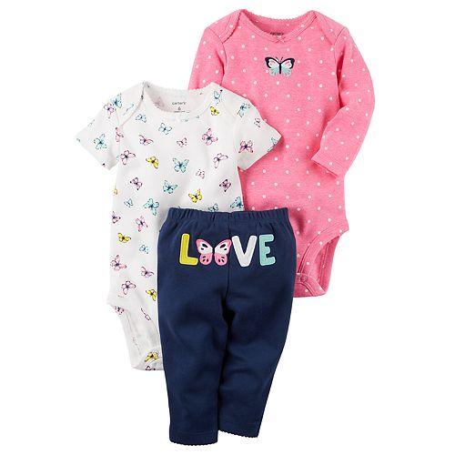 """Baby Girl Carter's Butterfly Bodysuit, Polka-Dot Bodysuit & """"Love"""" Pants Set"""