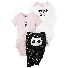 Baby Girl Carter's 'Mommy's Little Girl' Bodysuit, Panda Bodysuit & Heart Pants Set