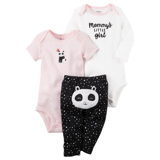 "Baby Girl Carter's ""Mommy's Little Girl"" Bodysuit, Panda Bodysuit & Heart Pants Set"