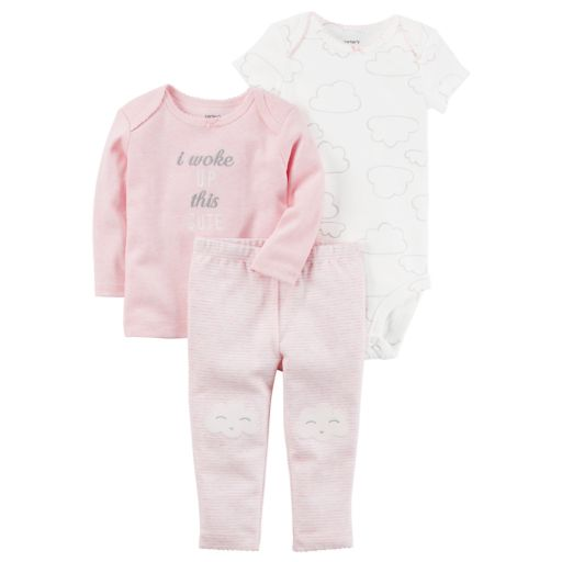 """Baby Girl Carter's """"I Woke Up This Cute"""" Graphic Tee, Clouds Bodysuit & Striped Pants Set"""