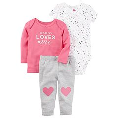 Baby Girl Carter's 'Daddy Loves Me' Tee, Hearts Bodysuit & Striped Pants Set