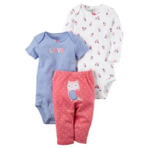 "Baby Girl Carter's ""Love"" Bodysuit, Owl Bodysuit & Polka-Dot Pants Set"