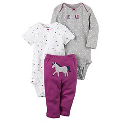 Baby Girl Carter's Rainbow Bodysuit, 'Adorable' Bodysuit & Unicorn Pants Set