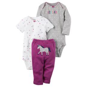 "Baby Girl Carter's Rainbow Bodysuit, ""Adorable"" Bodysuit & Unicorn Pants Set"