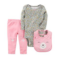 Baby Girl Carter's Floral Bodysuit, Bear Pants & Bib Set