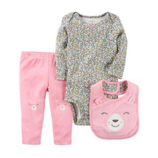 Baby Girl Carter's Floral Bodysuit, Bear Pants & Bib Set