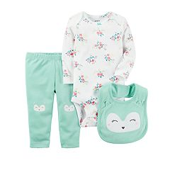 Baby Girl Carter's Floral Bodysuit, Owl Pants & Bib Set