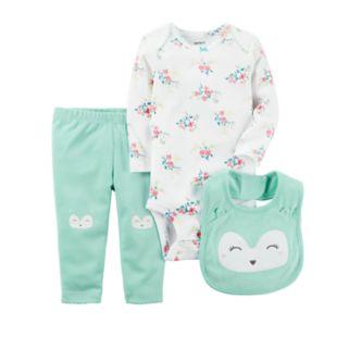 Baby Girl Carter's Floral Bodysuit, Owl Pants & Bib Set