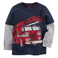 Boys 4-8 Carter's Firetruck Mock Layer Graphic Tee