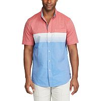 Big & Tall Chaps Classic-Fit Colorblock Stretch Poplin Button-Down Shirt