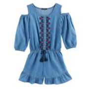 Girls 7-16 My Michelle Embroidered Chambray Cold Shoulder Romper