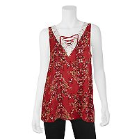 Juniors' IZ Byer Crochet Trim Lace-Up Tank