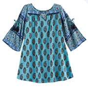Girls 7-16 My Michelle Open Bell Sleeves Paisley Dress