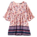 Girls 7-16 My Michelle Open Sleeve Border Dress