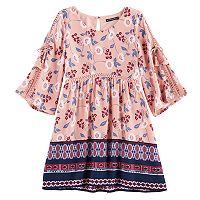 Girls 7-16 My Michelle Open Sleeve Border Dress